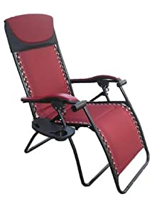 Deluxe Large Zero Gravity Fully Reclining Lounge Patio Folding Chair (Fully Padded for Ultimate Compfort) w/ Cupholder and Side Tray - 300lb Weight Limit - Burgandy Red - Great for Camping and Tailgating by Wilcor