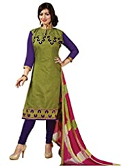 Surat Tex Green Color Casual Wear Embroidered Chanderi Semi-Stitched Salwar Suit