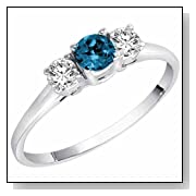 14K Gold Round 3 Stone Blue Diamond & White Diamond Ring (1/2 cttw)