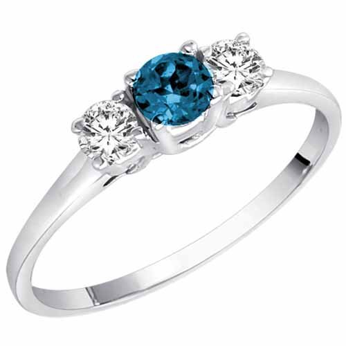 Ryan Jonathan 14K Gold Round 3 Stone Blue Diamond & White Diamond Engagement Ring (1/2 cttw)
