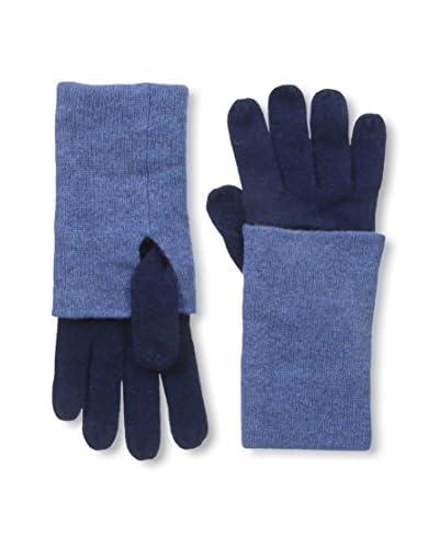 NORTH ELEVEN Women's Cashmere Contrast Cuff Gloves, British Blue/Soft Denim