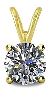0.20tcw 14 Karat Yellow Gold Round Brilliant Cut Diamond Pendant with 18 Inch chain