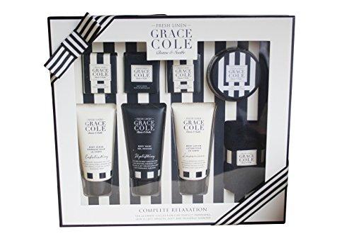 Grace Cole Fresco Lino 8-Pc completo relax: Lavare Scrub Lotion Caviar Fizzer flanella