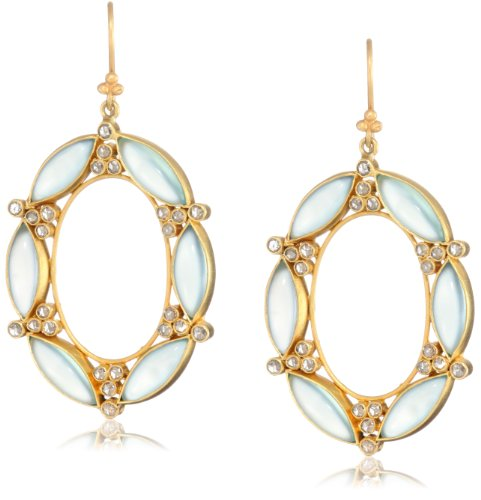 Lauren Harper Collection Archipeligo Blue 18k Gold, Peruvian Chalcedony and Rose Cut Diamond Oval Earrings
