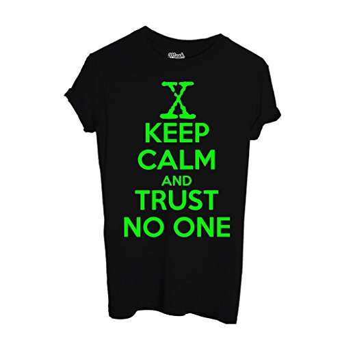 T-Shirt KEEP CALM AND TRUST NO ONE X-FILES - FILM by iMage Dress Your Style - Donna-XL-NERA