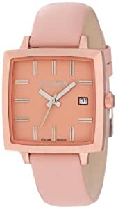 Haurex Italy Women's FK380DP1 Compact W Square Pink Leather Watch