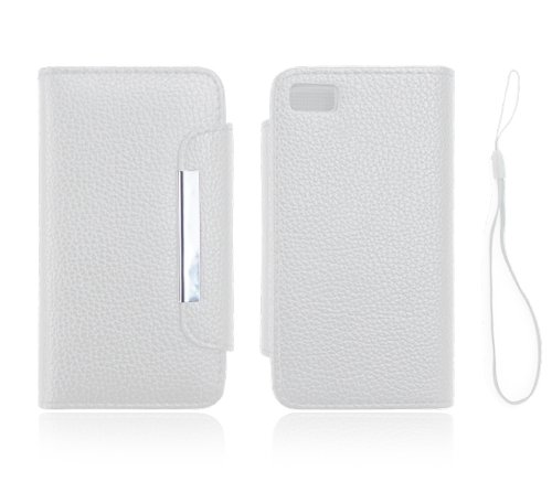 Jkase Wallet Case Cover With Credit / Business Card Holder For Blackberry Z10 - White