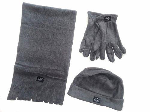 WINTER Fleece Set 4- teilig für Männer bestehend aus 1 Schal, 1 Mütze und 1 Paar Handschuhe- erhältlich in 3 Farben Farbe grau