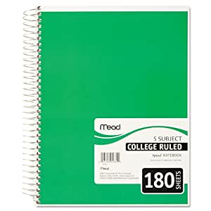 Mead Spiral Notebook, 5 Subject, College Ruled, 180 Sheets, 1 Notebook per Order, Assorted Colors - Color May Vary (05682)