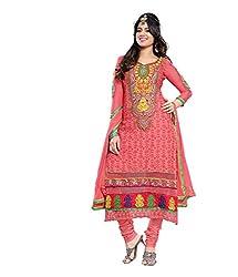 Avani Light Pink Cotton Karachi Style Embroidery With Stone Work