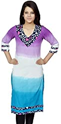 Devansh Women's Free Size Purple Blue& White Shaded Stitched Long Cotton Kurtis