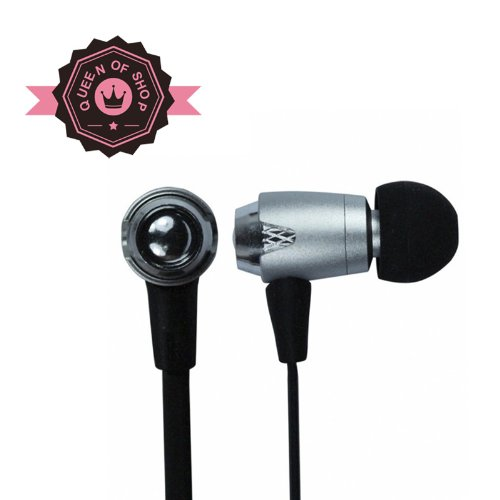 Queen I810 3.5Mm Stereo Earbuds With Microphone For Apple Iphone 5C / Iphone 5S / Samsung Galaxy Mega / Note 3 /Galaxy Sv And Other Cellphone Smartphone - Sliver