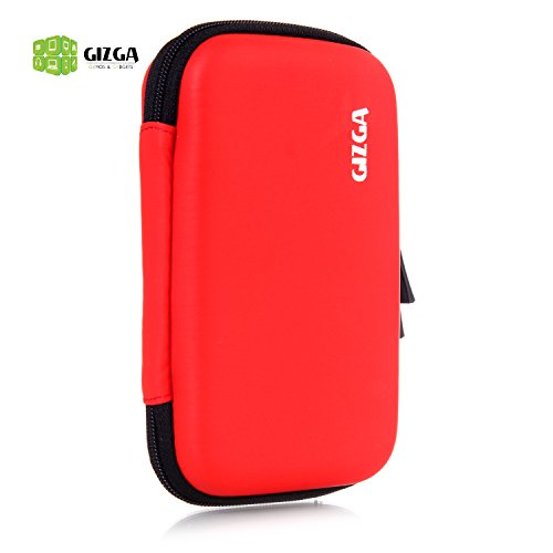 GIZGA Branded 2.5 inch HARD SHELL - Color: Red; Series External Portable Hard Disk Drive Carry Cover Protector/ Pouch / Bag/ HDD Case