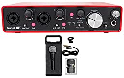 Focusrite SCARLETT 2I4 MK2 192kHz USB Audio Recording Interface+Mic+Case+Cable
