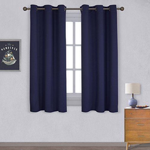 Nicetown All Season Thermal Insulated Solid Grommet Top Blackout Curtains / Drapes for Kid's Room (1 Pair,42 x 63 Inch in Royal Blue) (Thermal Curtains For Boys compare prices)