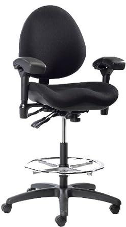 "BodyBilt J757x F1 Black Vinyl Fabric Mid-Back Task Petite Stool with Arms, 18.5"" Length x 18.5"" Width Backrest, 21"" Width Seat, Grade 3"
