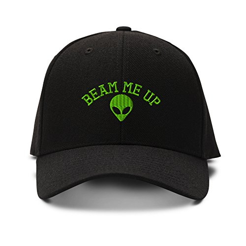 feruch Beam Me Up Alien Embroidery Embroidered Structured ha cap Black