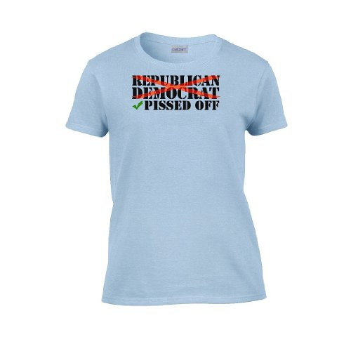 Iamtee Womens Republican Democrat : Pissed Off T-Shirt-Light Blue-M