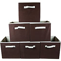 Premium Storage Cube - Fabric Basket Bins - Organize Your Home, Closet, Bedroom & Nursery (Chocolate Set of 6)