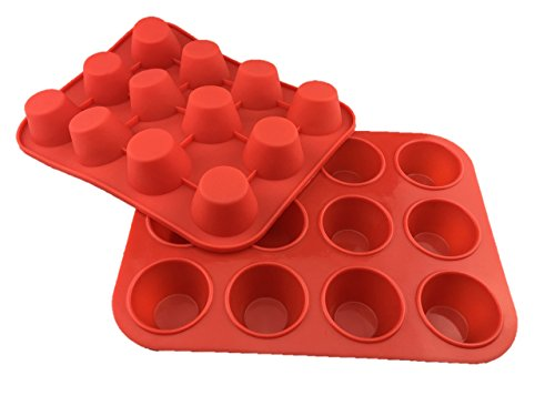Chef's Entrée Silicone Small Mini Muffin Cupcake Pans - 2 Pack x 12 Muffin Cups Red Cupcake Non-stick Baking Tray - 100% Premium Silicone & BPA Free - Dishwasher Safe & Heat Resistant
