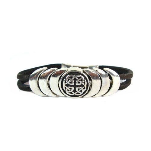Celtic Knot Symbol for Eternity Magnetic Closure Leather BraceletCeltic Eternity Symbol
