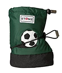 Stonz Three Season STAY-On Baby Booties, For Bare Feet or Shoes, For Mild or Cold Snow Weather, Soccer Ball - Dark Green Large