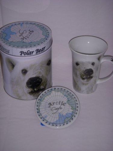 Polar Bear 14 Ounce Coffee Mug, Coaster & Coffee Tea Tin (Paul Cardew Arctic Series)