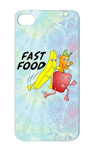 Diet Healthy Running Fast Food Miscellaneous Banana Carrot Fruit Apple Vegetable Funny Fast Food Yellow For Iphone 5S Tpu Protective Case front-701023