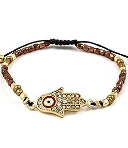 Accessory Accomplice Goldtone Crystal Studded Hamsa Charm Bronze & Goldtone Seed Bead Adjustable Bracelet