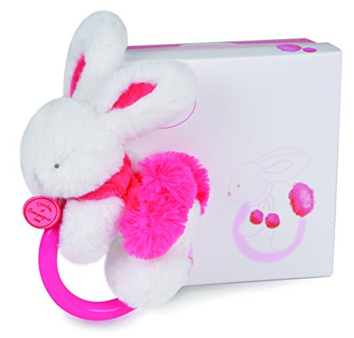 DOUDOU ET COMPAGNIE - White & Strawberry Pompon Soft Bunny With Rattle - 1