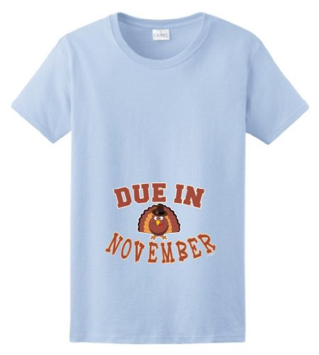 Due In November Maternity Themed Ladies T-Shirt Large Light Blue