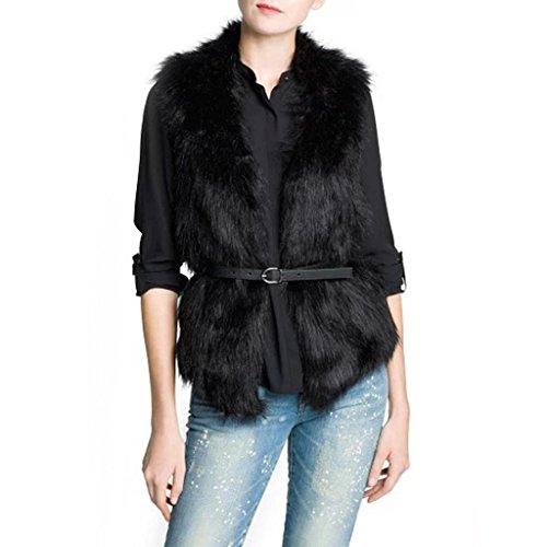 Hee Grand Damen Maedchen Elegant Mantel Mode Strickjacke Patchwork Westen Kunstpelz Jacke mit Guertel Chinesich M