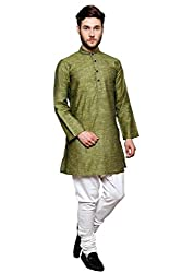Dhrohar Silk Light Mehandi Long Kurta Pyjama Set for Men