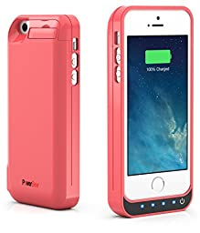 PowerBear iPhone 5SE / iPhone 5S / iPhone 5C / iPhone 5 [Stamina Series] Extended Rechargeable Battery Case with Built in USB PowerBank with 4000mah Capacity (Up to 250% Extra Battery) - Pink [24 Month Warranty and Screen Protector Included]