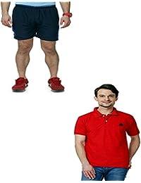 Abloom Men's Shorts & T-shirt Combo ( Navy Blue & Green )