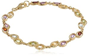 "18k Yellow Gold Plated Sterling Silver Multi-Gemstone Bracelet, 7.25"" by Amazon Curated Collection"