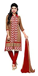 Khoobee Presents Embroidered Chanderi Dress Material(Brown,Red)