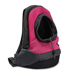 Dog Carrier Cat Puppy Mesh Pet Travel Bag Backpack Double Portable Shoulder Bag - Rose Red - M