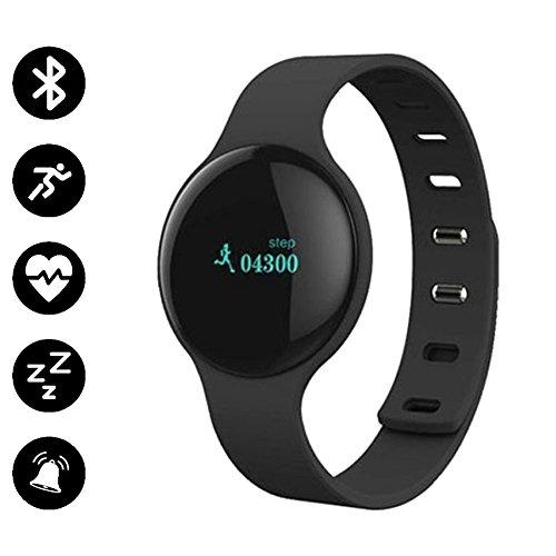Bracelet connecté - Marque Française - ICON My Pop - Capteur Cardiaque Podomètre Tracker Activité physique Bluetooth 4.0 - Second bracelet bleu inclu
