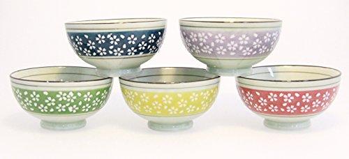 JustNile 5 Piece Multi-colored Floral Design Rice Bowl Set