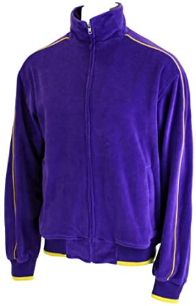 Purple Velour Track Jacket with Yellow Piping by Sweatsedo