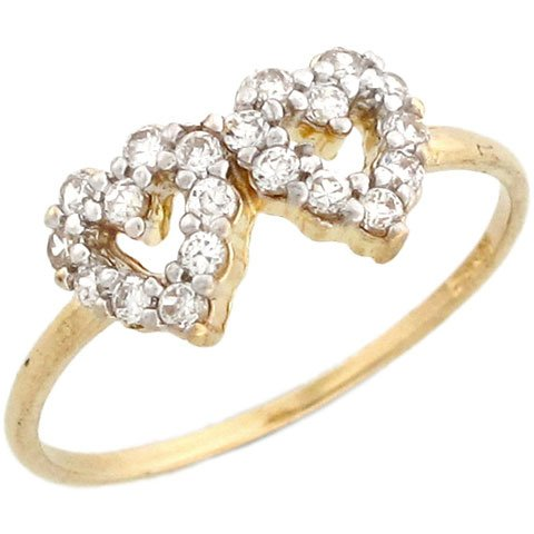 14k Yellow Gold Gorgeous Round Cut White CZ Double Heart Promise Ring