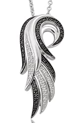 Angel Feather Wing White and Black Diamond Pendant Necklace in Sterling Silver (1/5 Carat)