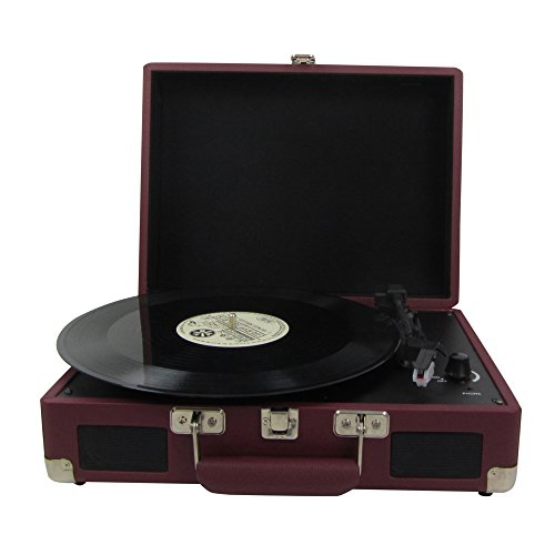 Keni Portable Turntable Suitcase Player Red, Supports RCA Output / Headphone Jack / MP3 / Mobile Phones Music Playback (Turntable With Rca Output compare prices)