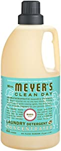 Mrs. Meyer's Clean Day 2x HE Liquid Laundry Detergent, Basil, 64-Ounce Bottles (Pack of 6)