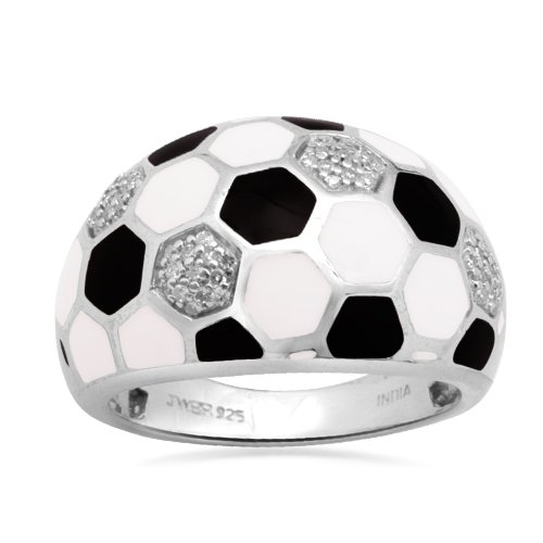Sterling Silver Enamel Soccer Diamond Ring (1/5 cttw, I-J Color, I2-I3 Clarity), Size 9