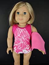 Pink One Piece Swim Suit in Pink with White Floral Design Complete with Towel and Swim Cap Designed for 18 Inch Doll Like the American Girl Dolls
