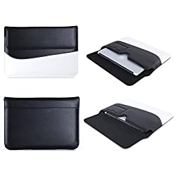 SAVFY Microsoft Surface Pro 3 & Surface Pro 4 Case - Leather Sleeve Cover With Nubuck Fibre Interior (Black/White) for Microsoft Surface Pro 3 / Surface Pro 4