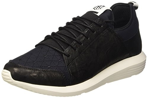 Bikkembergs Speed 581 L.Shoe M Leather/Lycra, Scarpe Low-Top Uomo, Nero (Black/Origami Embroidery), 43 EU