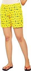 Udankhatola Women's Cotton Shorts (BOXW-RUPIAH-YLW, Yellow, 36)